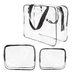 3Pcs Crystal Clear Cosmetic Bag TSA Air Travel Toiletry Bag Set with Zipper Vinyl PVC Make-up Po ...