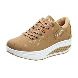Clearance Sale Women's Girls Casual Lace up Sneakers Thick Bottom Platform Wedges Shoes fo ...