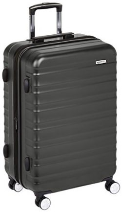 AmazonBasics Premium Hardside Spinner Luggage with Built-In TSA Lock – 24-Inch, Black