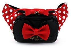 Disney Minnie Mouse Ribbon HipSack Waist Pack Fanny Sling Bag for Man Women Lady Girl Teens (Red)