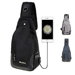 SMUNIFUR Sling Bag Waterproof Outdoor Shoulder Chest Unbalance Cross Body Backpack with Adjustab ...