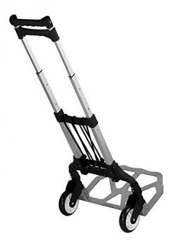 Mount-It! Folding Hand Truck and Dolly, 165 lb Capacity Heavy-Duty Luggage Trolley Cart with Tel ...