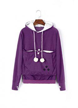Unisex Big Kangaroo Pouch Hoodie Long Sleeve Pet Dog Holder Carrier Sweatshirt (Violet, M)