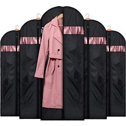 HOUSE DAY 5 Pack 60 inch Garment Bag Lightweight Oxford Fabric Suit Bags Moth-Proof with Study Z ...