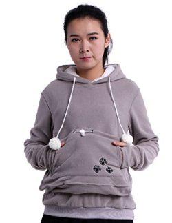 Fleece Hoodies Pet Holder Cat Dog Kangaroo Pouch Carriers Pullover Grey L
