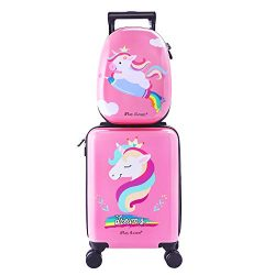 Unicorn Kids Carry On Rolling Luggage, Hard Shell Travel Upright Suitcase Girls