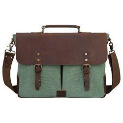 S-ZONE Fashion Canvas Genuine Leather Trim Travel Briefcase 15.6-inch Laptop Bag