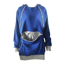 Pet Carriers, Unisex Hoodies Pet Holder Cat Dog Kangaroo Pouch Carriers Pullover (Blue, L)