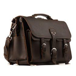 Saddleback Leather Co. Front Pocket Full Grain Leather Travel Briefcase Bag for Men Includes 100 ...