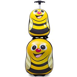 Goplus 2Pc 13″ 19″ Kids Carry On Luggage Set Travel Trolley Suitcase (Honeybee)