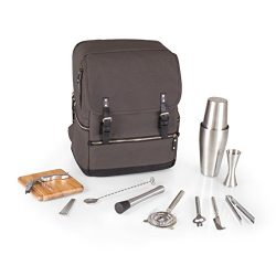 LEGACY – a Picnic Time Brand Bar Backpack 16-Piece Portable Cocktail Set, Grey/Black