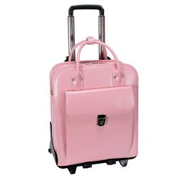 Vertical Detachable-Wheeled Women's Briefcase, Leather, Mid-Size, Pink – LA GRANGE | ...