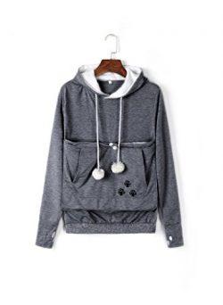 Unisex Big Kangaroo Pouch Hoodie Long Sleeve Pet Dog Holder Carrier Sweatshirt,Dark Gray,XXX-Large