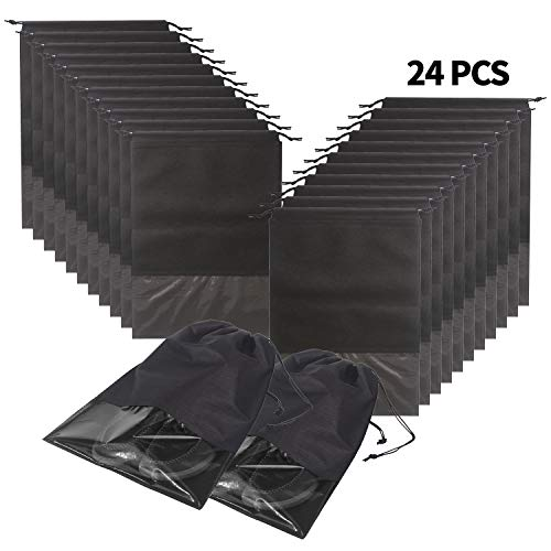 24pcs Travel Shoe Bags Waterproof Non Woven With Rope For Men And Women Large Shoes Storage