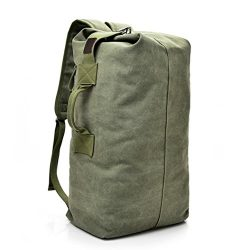 Outdoor Travel Men Backpack, Hiking Camping Canvas Vintage Neutral Rucksack High Capacity Satche ...