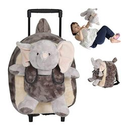 Funday 3-Way Toddler Rolling Backpack with Removable Stuffed Toy & Wheels – Little Kid ...