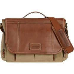 Tommy Bahama Briefcase Messenger Travel Bag, Khaki/Cognac