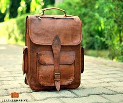 Brown Leather Rucksack Vintage Backpack – Fits 15 Inch Laptops and iPads – Handsome  ...