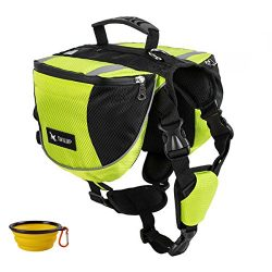 GrayCell Dog Pack Hound Travel Camping Hiking Backpack Saddle Bag for Small Medium Large Dogs (G ...