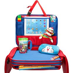 Kids Travel Tray – Detachable Top 4-In-1 Car Organizer w Tablet Holder – Play Snack  ...