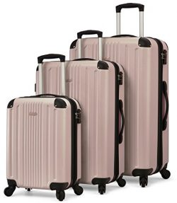 TravelCross Milano Luggage Expandable Lightweight Spinner Set – Champagne, 3 piece (20R ...