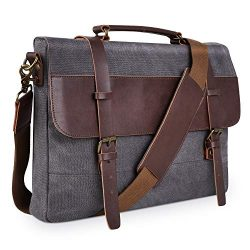 PRASACCO Canvas Messenger Bag Vintage Anti Thief Water Resistant Tactical Briefcases Crossbody S ...