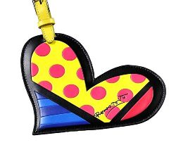 Romero Britto Heart Luggage Tag Name Bag Card Holder Travel Suitcase Baggage New