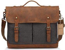 VASCHY Leather Canvas Messenger Bag for Men,15.6 inch Laptop Vintage Satchel Business Briefcase  ...