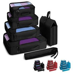 Veken 6 Set Packing Cubes, Travel Luggage Organizers with Laundry Bag & Shoe Bag