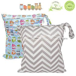 BESEGO 2Pcs Baby Wet and Dry Cloth Diaper Bags, Nappy Organizer Bag, Multipurpose Travel Packing ...