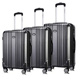 Hardside Luggage Set, Expandable Premium Carbon Fiber PC Luggage Sets Suitcase 3 Piece Set TSA L ...