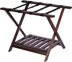AmazonBasics Luggage Rack with Shelf – Espresso