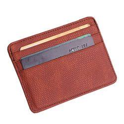 Fashion Women Lichee Pattern Bank Card Pack Document Bag Purse (Brown)