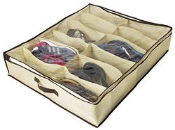 Ziz Home Under Bed Shoe Organizer for Kids and Adults (12 Pairs) – Underbed Shoes Closet S ...