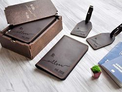 Honeymoon Travel Accessories Mr and Mrs Wedding Gift for Couple Leather Travel Gift SET OF TWO D ...
