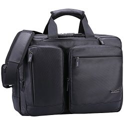 Ronts Convertible Briefcase Backpack Multifunctional Waterproof 17 Inch Laptop Case 1-2 Days Por ...