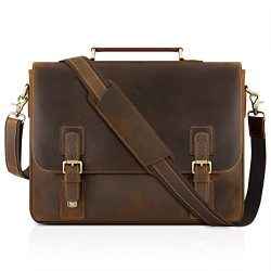 Kattee Men's Leather Satchel Briefcase, 15.6″ Laptop Messenger Shoulder Bag Tote
