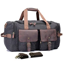 UNISACK Leather Canvas Duffle Bag Weekend Overnight Bag Travel Tote Duffel Luggage,Black