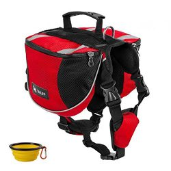 GrayCell Dog Saddlebags Hound Travel Hiking Camping Backpack for Medium Large Dogs (Red,L)