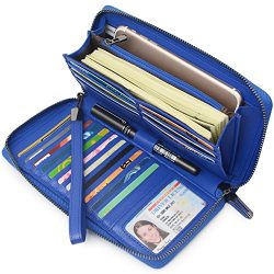 Women RFID Blocking Wallet Leather Zip Around Clutch Large Travel Purse Wrist Strap (Blue)