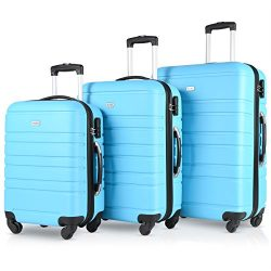 Travel Suitcase Spinner Luggage sets Hardshell Lockable 3 Piece Set(20″ 24″ 28&#8243 ...