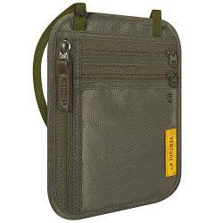 VENTURE 4TH Travel Wallet | RFID Passport Holder | Security Neck Pouch (Green)