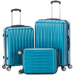Hardside Spinner Luggage Set 3 piece Suitcase set Lightweight with TSA lock 20inch carry on 24in ...