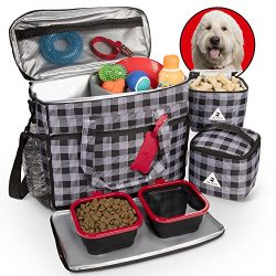 Premium Dog Travel Set – Includes Large Tote Bag, Secret Spare Leash, 2 Lined Food Cases,  ...