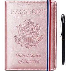 Passport Holder Cover wallet Case-Leather RFID Blocking Travel Document Organizer with Bonus Pen ...