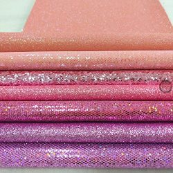 ZAIONE 7 pcs A4 (8″ x 12″) Sheet Colorful Sparkle Chunky Mixed Glitter Vinyl Faux Fa ...