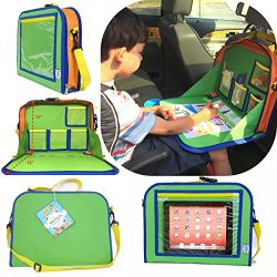 Kids Backseat Organizer Holds Crayons Markers an iPad Kindle or Other Tablet. Great for Road Tri ...