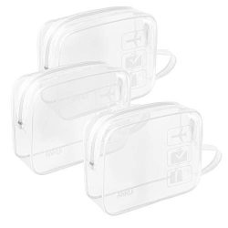 (3 Pack) TSA-Approved Clear Travel Toiletry Bag With Handle Strap, ANRUI Airline Kit 3-1-1 Clear ...