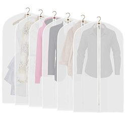 "ETERNLEAF Garment Bags Clear 24"" x 43"" Suit Bags (Pack of 6) Breathable Moth Proof G ..."
