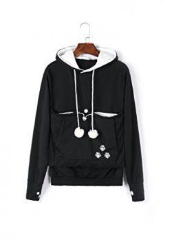 Unisex Big Kangaroo Pouch Hoodie Long Sleeve Pet Dog Holder Carrier Sweatshirt,Black,XXX-Large